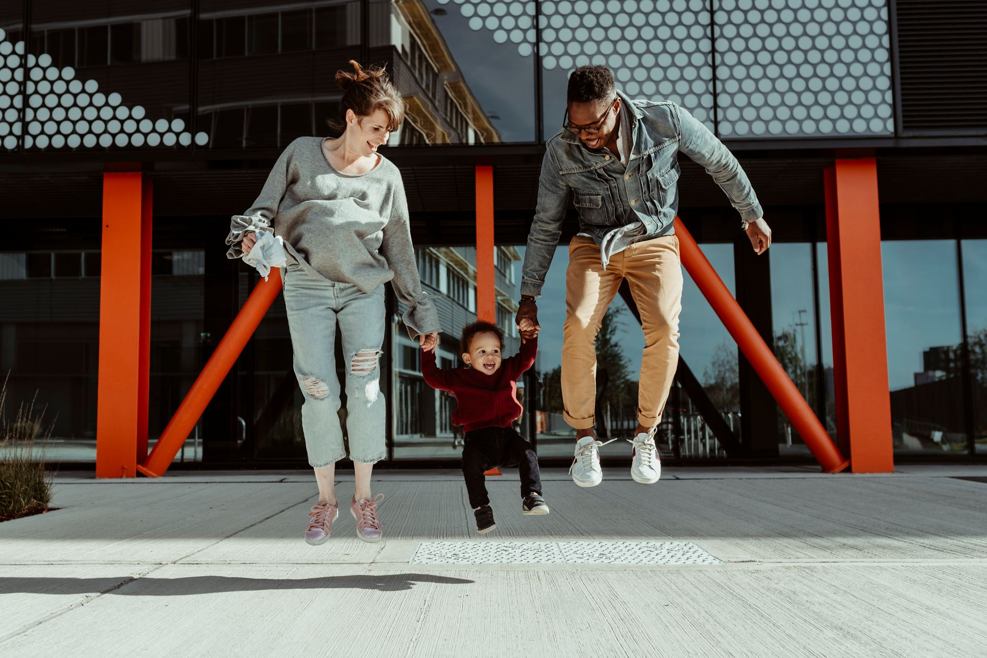 Essex London Family Jumping on Photoshoot in Hackney